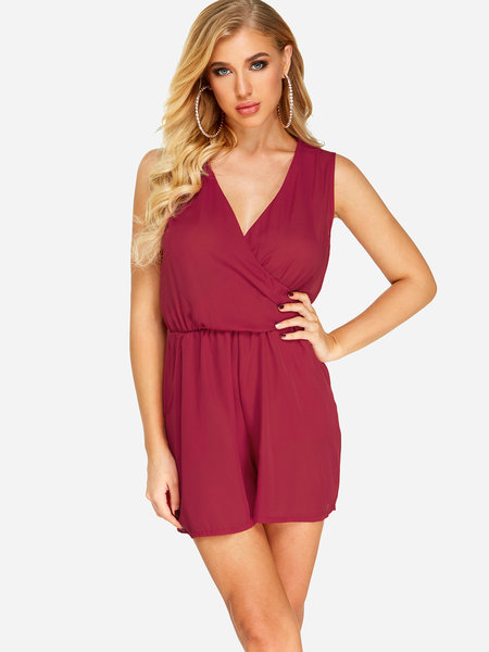 Red Crossed Front Design V-neck Stretch Waistband Playsuit