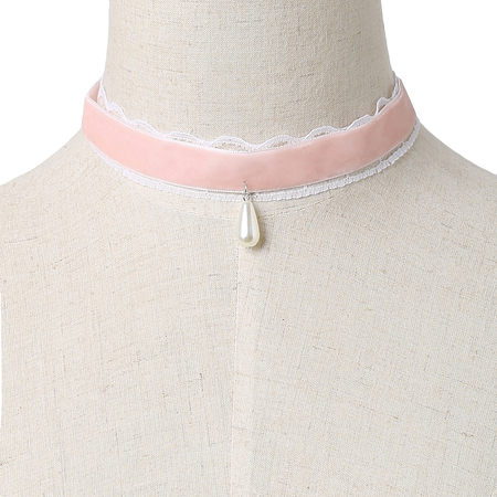 Pink Velvet Ribbon Lace Details Pearl Pendant Necklace