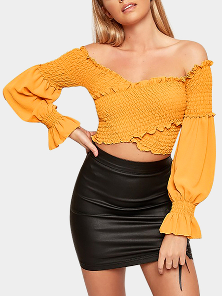 Yellow Crossed Front Design Off The Shoulder Lantern Sleeves Blouses