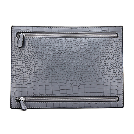 Croc Embossed Leather-look Clutch Bag in Grey
