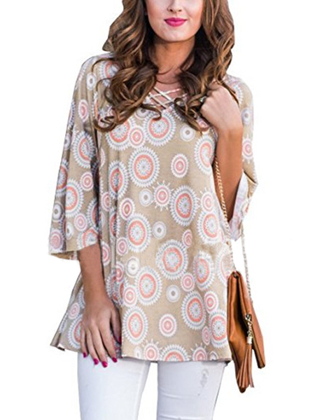 Khaki Circles Tunic Print Criss-cross V-neck Top
