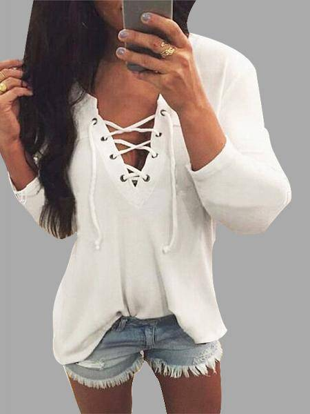 V Neck Lace Up Frente Loose T-shirt In White