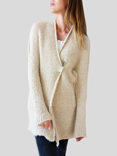 Beige Strick Long Sleeves Cardigans