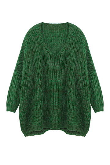 Green V Neck Irregular Jumper