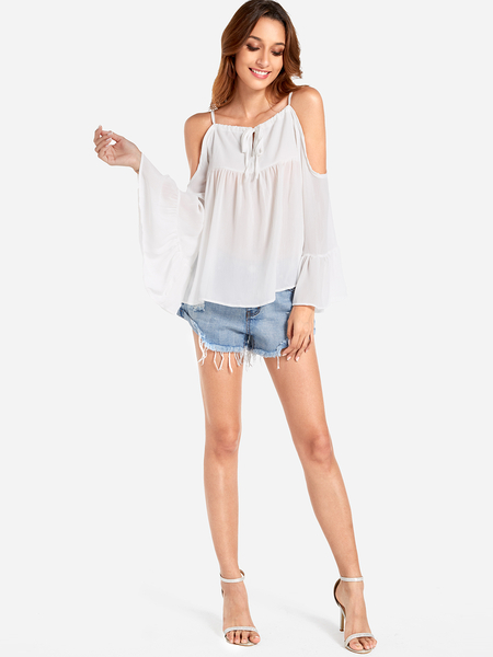 White Lace-up Design Cold Shoulder Flared Sleeves Cover-up
