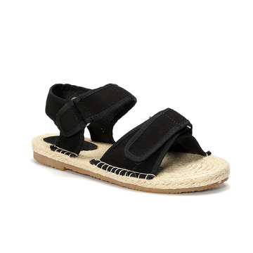 Black Hemp Rope Suede Flat Sandals