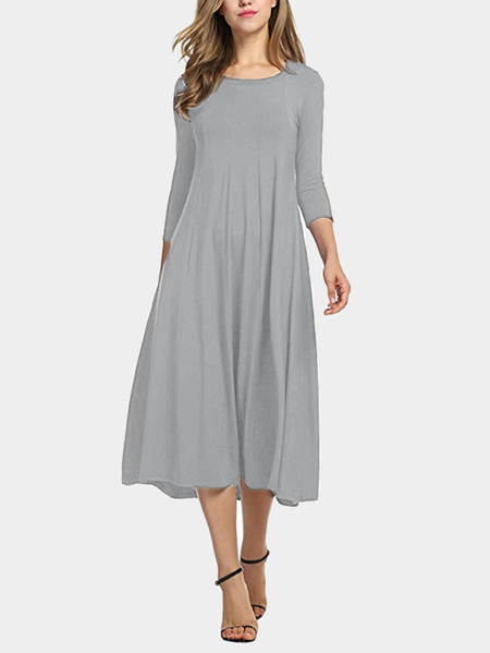 Grey Round Neck 3/4 Length Sleeves Maxi Dress