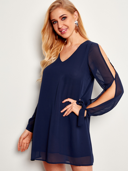 Navy Tie-up at Cuffs V-neck Long Sleeves Dress