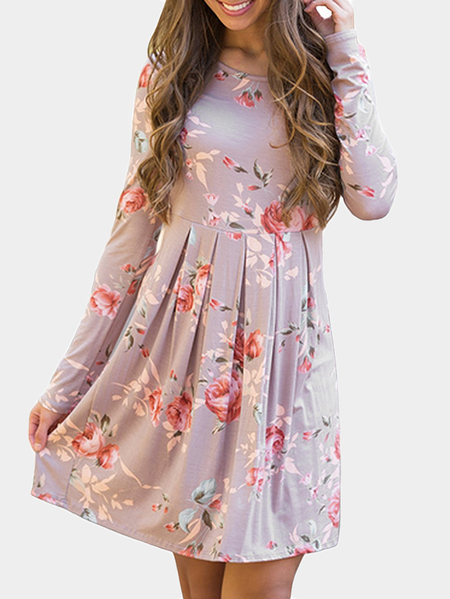 Khaki Random Floral Print Round Neck Knee Length Dress