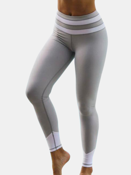 Active Contrast Color Stitching Quick Drying High Waisted Leggings in Grey