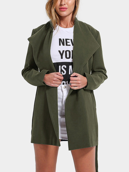 Army Green Lapel Collar Duster Coat
