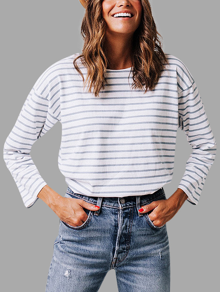 White Botton Back Design Stripe Round Neck Long Sleeves T-shirt
