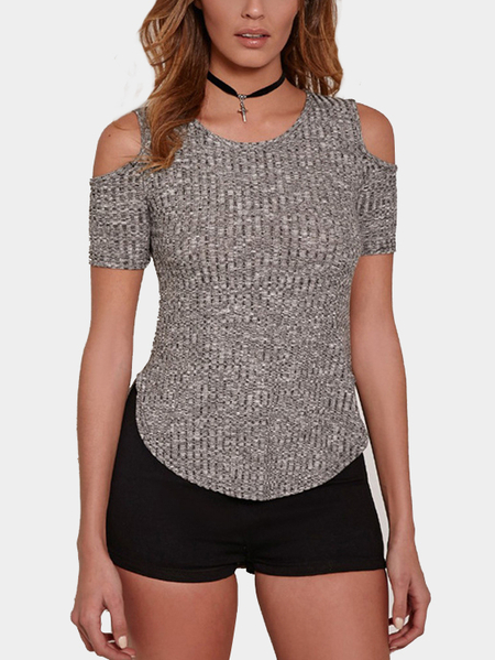 Gray Round Neck Cold Shoulder Short Sleeves Shirt