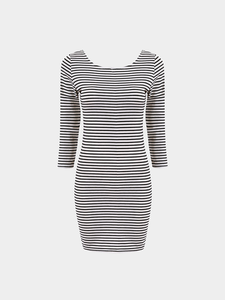 Striped Long-sleeved Sexy Package Hip Mini Dress