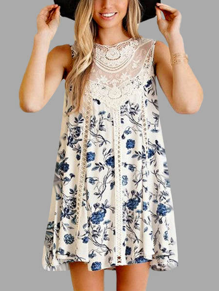 Random Floral Print Lace Details Stitching Dress