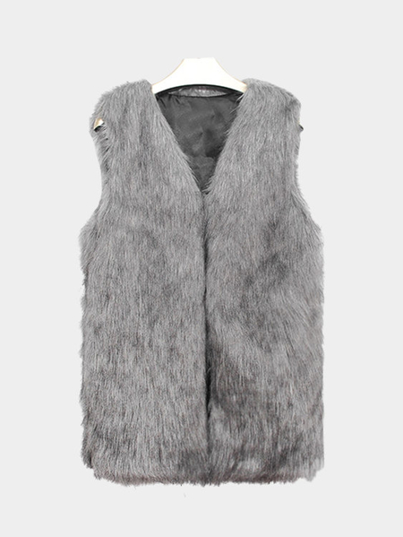 Grey Sleeveless Faux Fur Coat