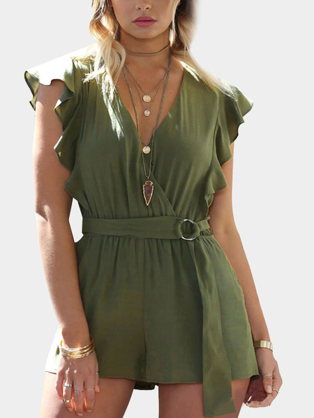 Green Fashion Deep V-neck Crossed Front Elastic Waist Playsuit With Belt