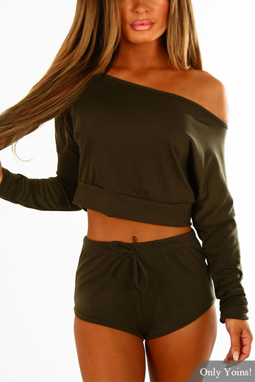 Army Green Long Sleeves Casual Two Piece Set