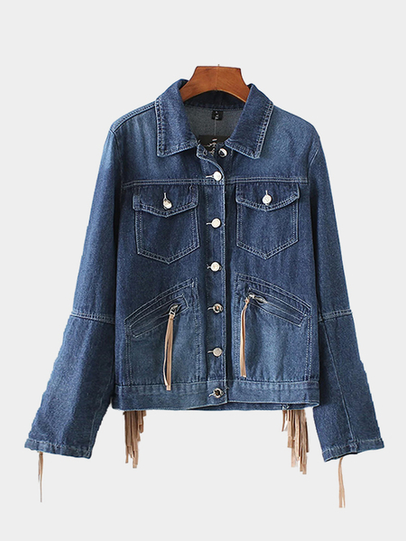 Dark Blue Classic Collar Tassel Details Denim Jacket
