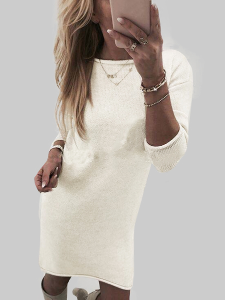 White Solid Color Round Neck Long Sleeves Sweater Dresses