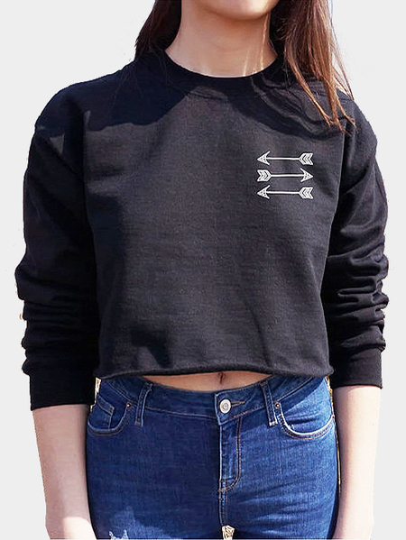 Black Short Length Arrow Pattern Sweatshirt