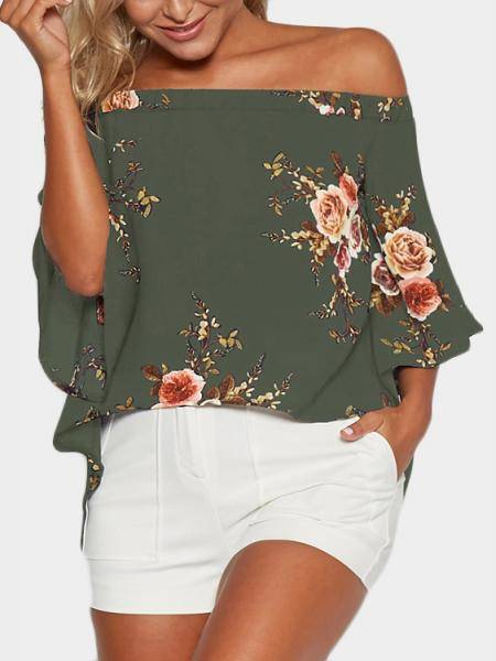 Random Floral Print Off Shoulder Splited Blouse in Army green