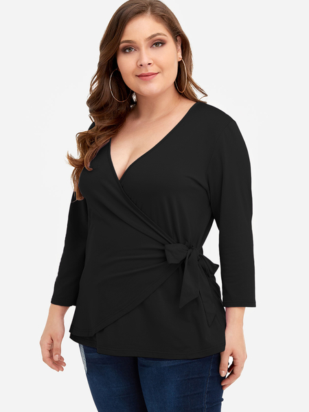 Plus Size Black Self-tie Design V-neck Blouse