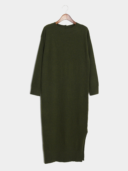 Green Maxi Knitted Dress with Splited Hem