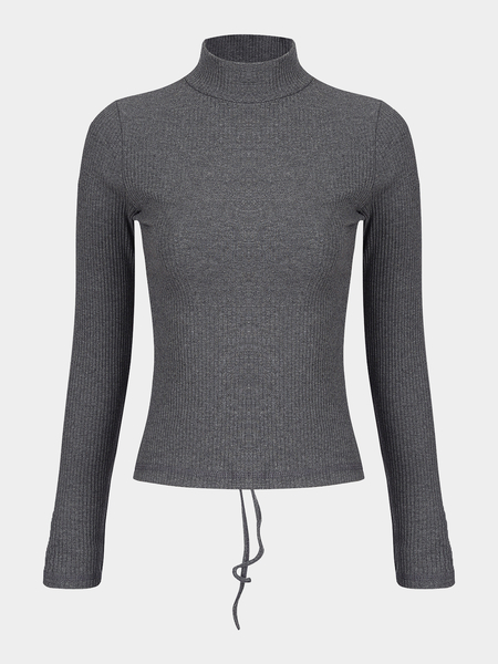 Grey High Neck Self-tie Back Long Sleeves T-shirt