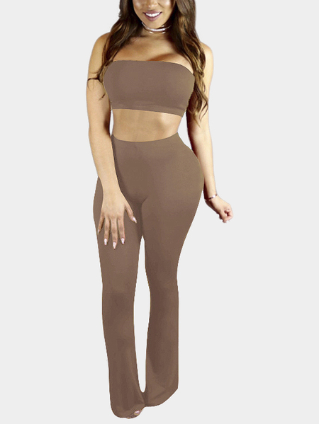 Coffee Tube Top y Wide Leggs Trousers Co-ord