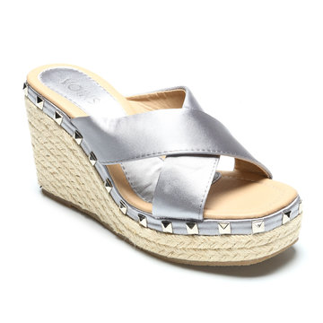 Grey Cross Front Rivet Embellished Wedge Slippers