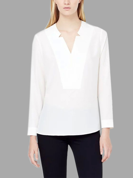 White Long Sleeves V-neck Shirt
