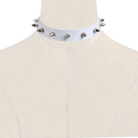 White Rivet Artificial Leather Choker Necklace