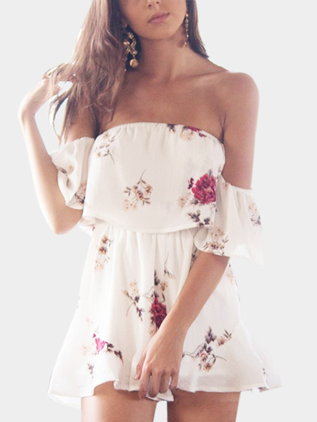 Playsuit dolce casuale floreale di stampa