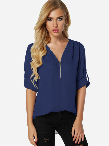 Blue Zip Design V-neck Adjustable Sleeve Length T-shirt