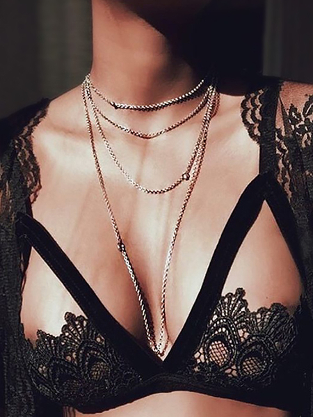 Black Cut Out Sheer Lace Deep V Neck Bra