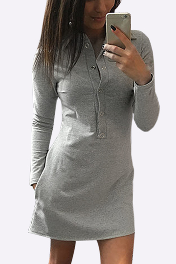 Grey Causal Button Design Irregular Hem T-shirt Dress