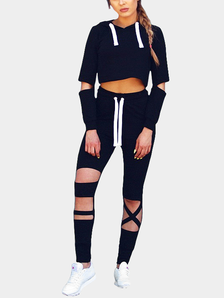 Black Casual Hooded Cropped Co-ords with Hollow Details