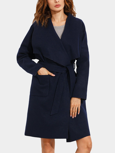 Dark Blue Lapel Collar Tweed Trench Coat with Belt