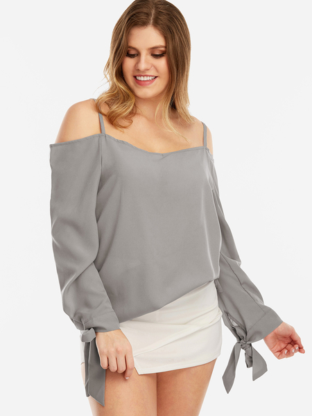 Plus Size Grey Self-tie Cold Shoulder Blouses