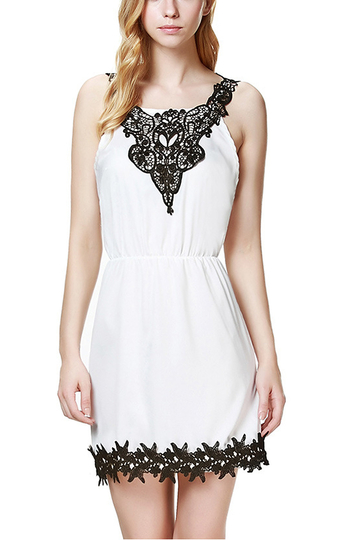 Crochet Lace Sling Dress with Stretch Waistband