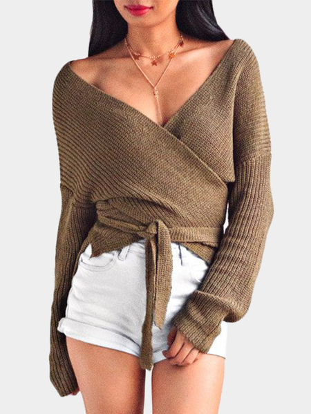 Khaki Self-tie Design Cross Front V-neck Knitting Jumpers