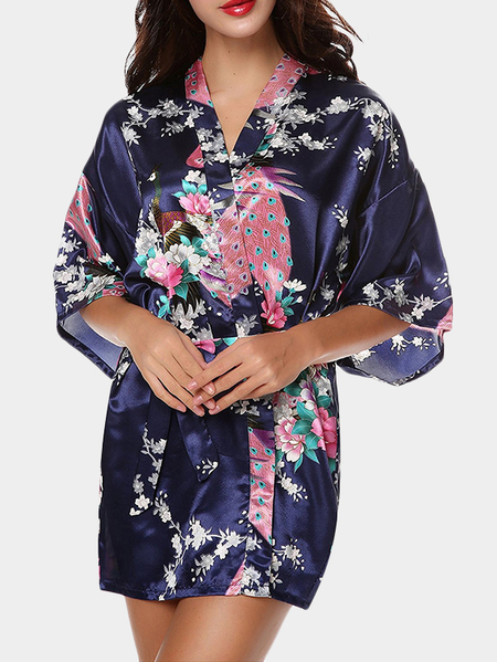 Random Peacock Print Pajamas In Navy