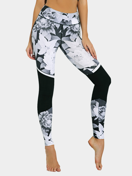 Active Random Floral Print High Waisted Gym Leggings in Black
