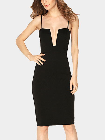 Black Sexy Deep V Sleeveless Einstellbare Spaghetti Strap Party Dress