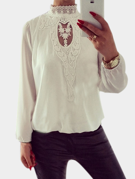 White Crochet Lace Embellished Cut Out Round Neck Blouse