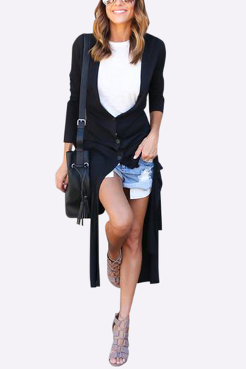 Noir V-neck Front Button Design Splited Hem Long Thin Trench Coat