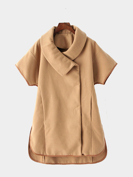 Khaki Cape Coat with Short sleeves