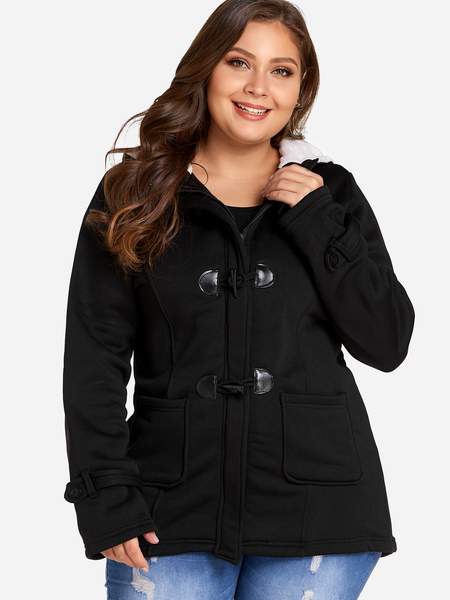 Plus Size Black Hooded Horn Buckle Coat