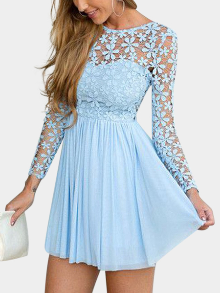 Blue Backless Design Crew Neck manches longues en dentelle Mini robe